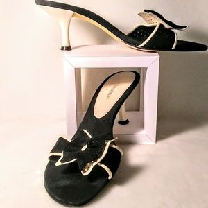Black and cream suade mules